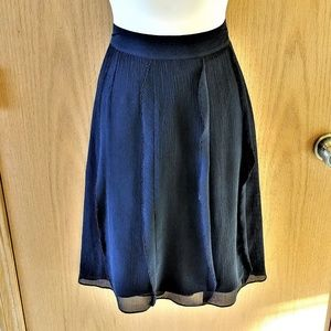 BANANA REPUBLIC Black Crinkle Silk Bead Skirt SZ 6